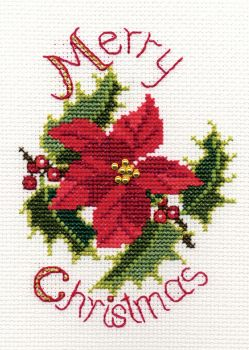Poinsettia and Holly - Christmas Card