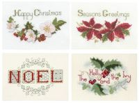 Traditional Christmas Cross Stitch Cards - Set of 4