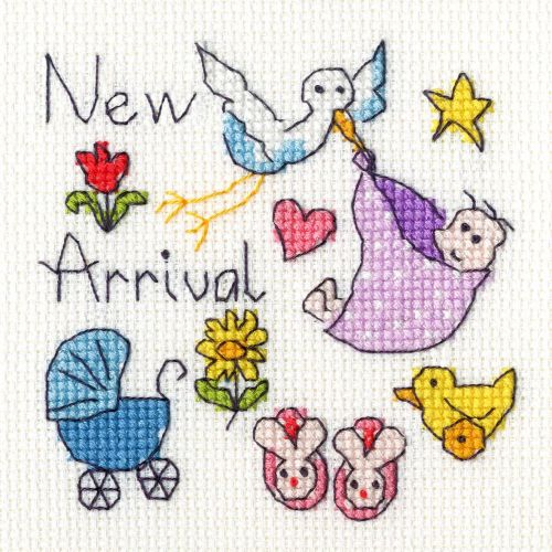 New Baby Cross Stitch Card