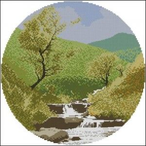 Mountain Stream - John Clayton Circles Cross Stitch