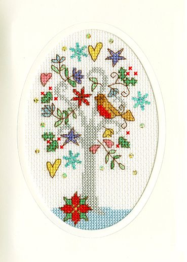 Winter Wishes Cross Stitch Card