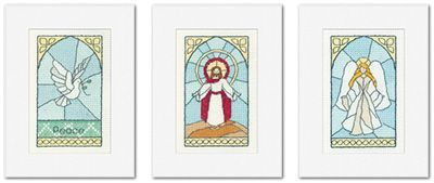 Stained Glass Christmas Cards - (Pack C) Set of 3