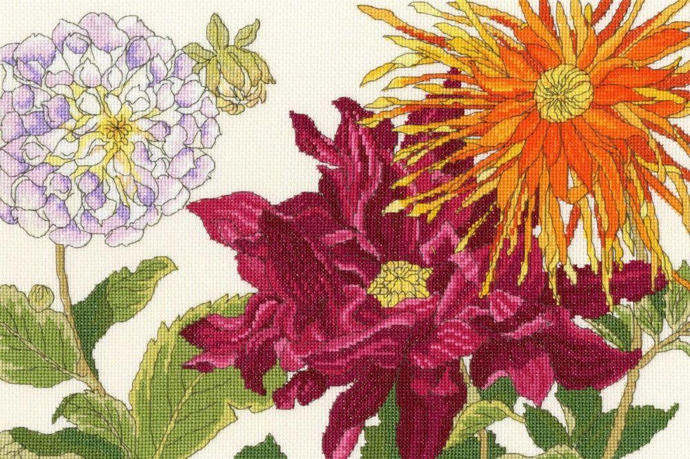 Dahlia Blooms - Floral Cross Stitch