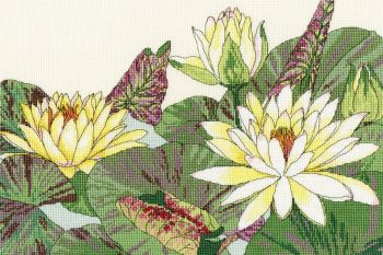 Water Lily Blooms - Floral Cross Stitch