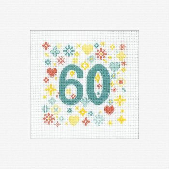 60th Cross Stitch Card Kit - Heritage Crafts