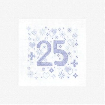 25th Cross Stitch Card Kit - Heritage Crafts