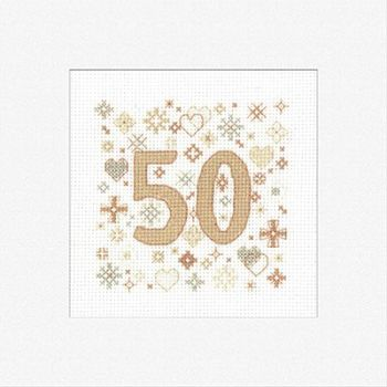 50th Cross Stitch Card Kit - Heritage Crafts