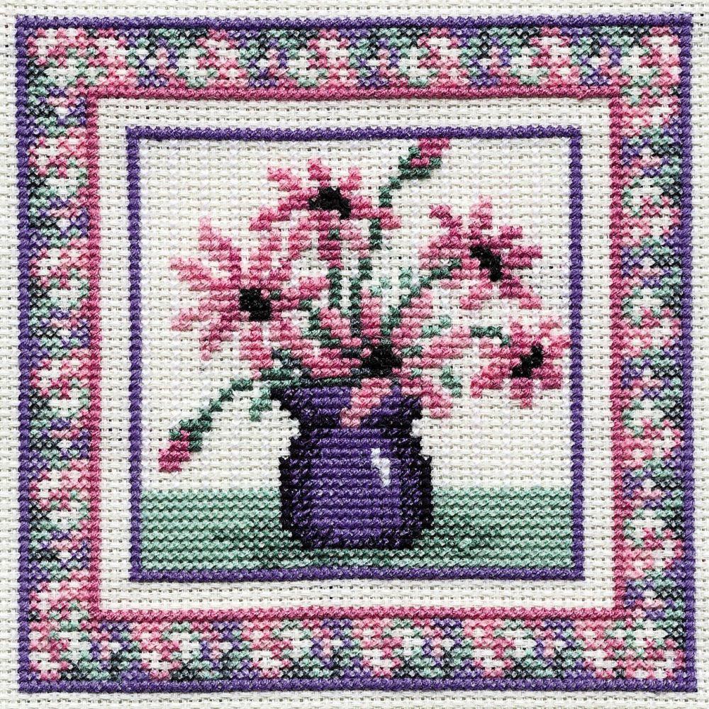 Pink Daisies Cross Stitch