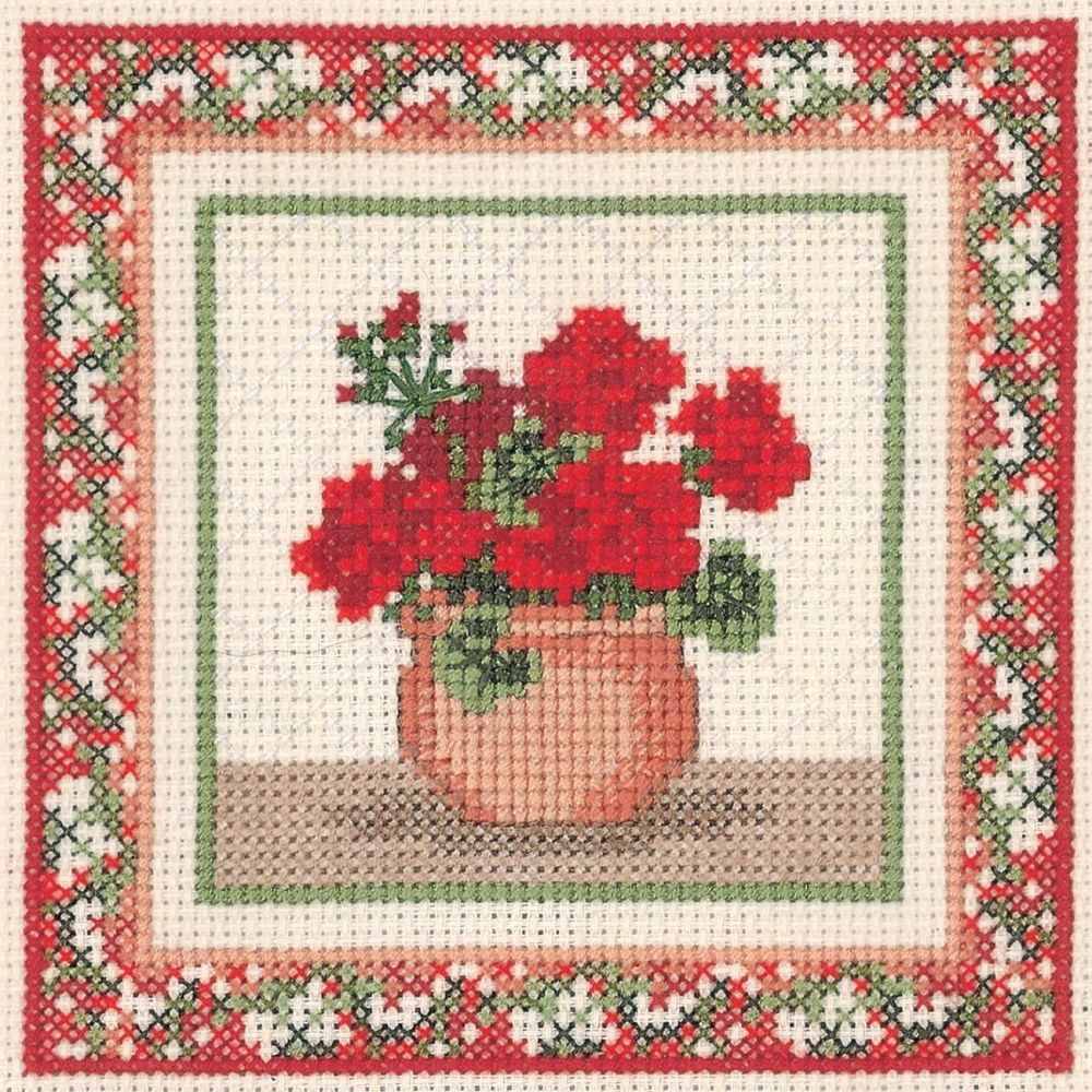 Geraniums Cross Stitch