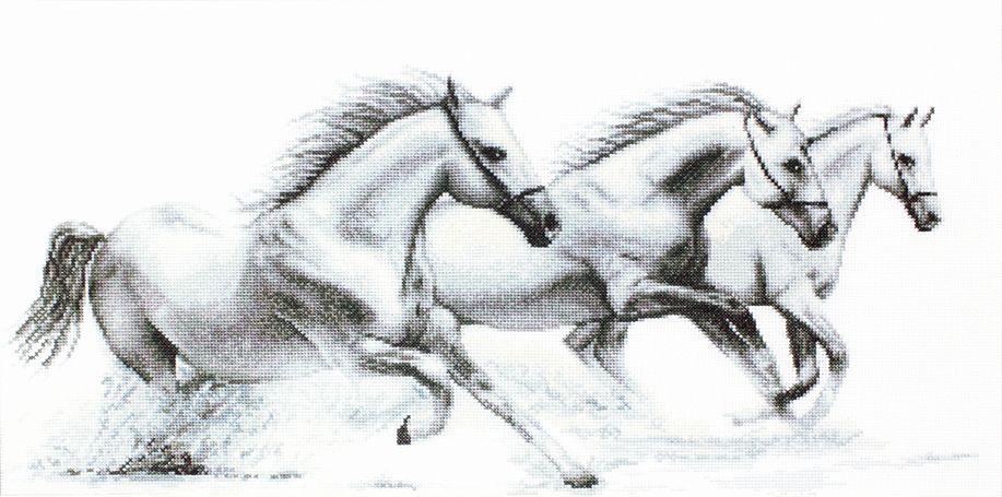 White Horses - Petit Point Kit - Luca-S