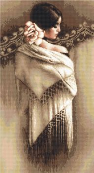 Spanish Lady with Shawl - Petit Point Kit - Luca-S
