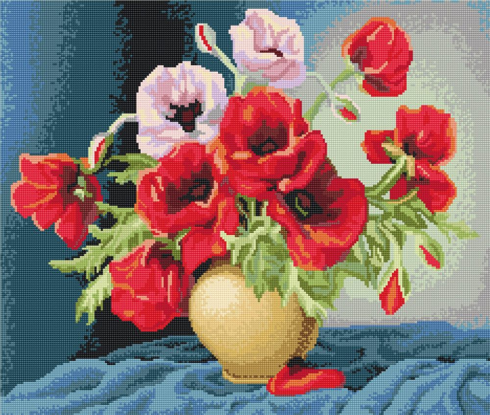 Vase with Poppies - Petit Point Kit - Luca-S