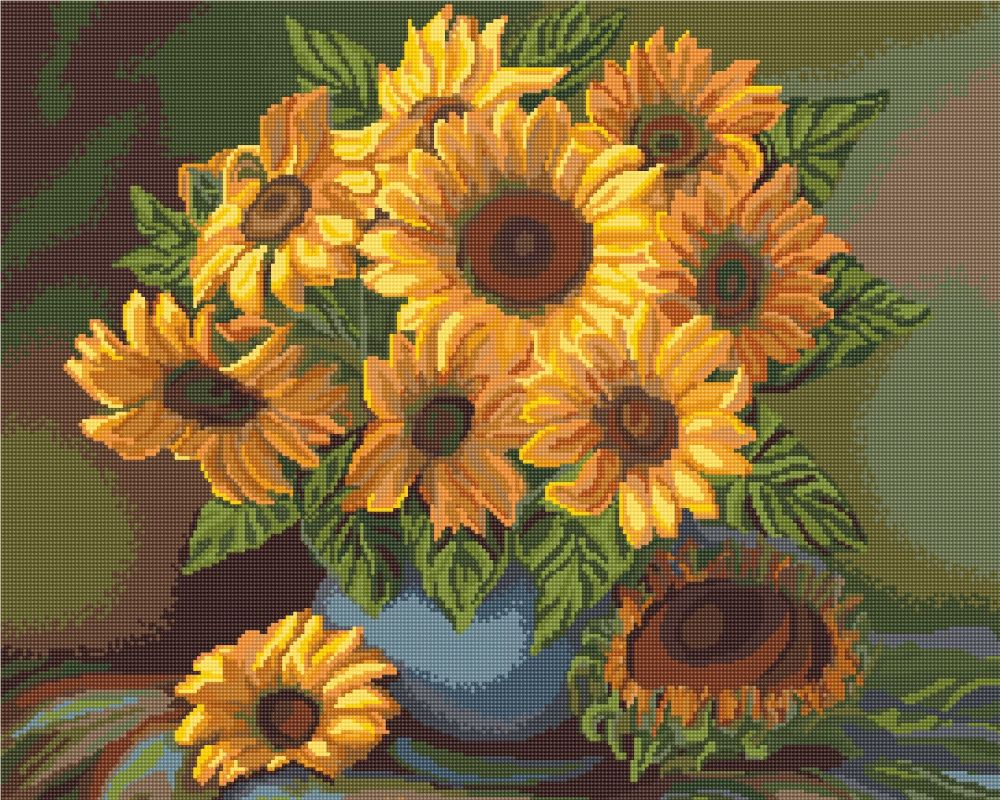 Vase with Sunflowers - Petit Point Kit - Luca-S
