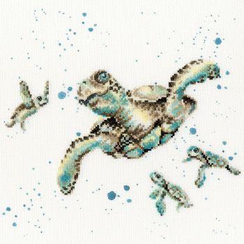 Swimming School Turtle cross stitch - Hannah Dale