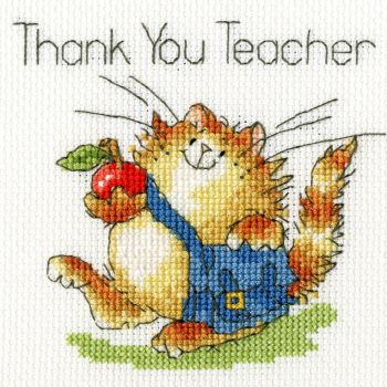 An Apple for Teacher Cross Stitch Card