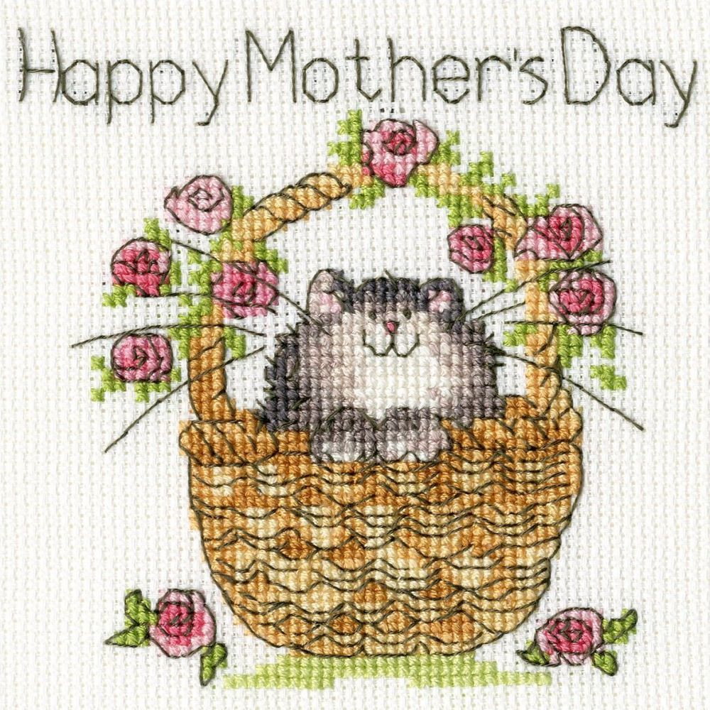 Basket of Roses Mothers Day Cross Stitch Card