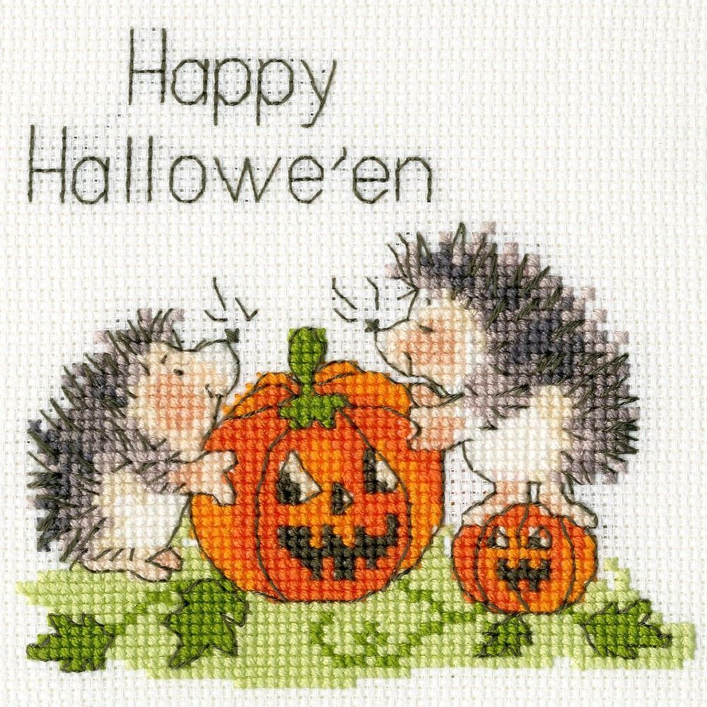 Halloween Jack O' Lantern Cross Stitch Card