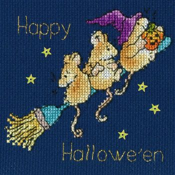 Halloween  Starry Night Cross Stitch Card