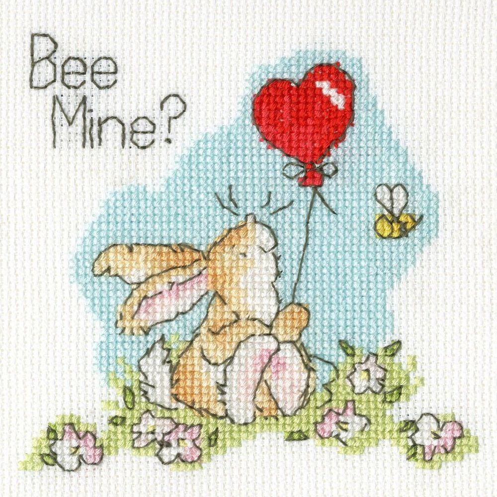 Bee Mine Valentines Cross Stitch Card