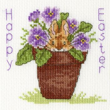Easter Bunny Cross Stitch Card