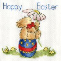 Easter Teddy Cross Stitch Card