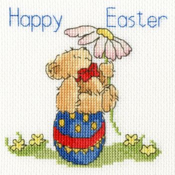 Easter Teddy Cross Stitch Card