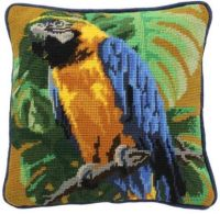 Tropical Parrot on Ochre Herb Pillow Tapestry