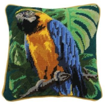 Tropical Parrot on Teal Herb Pillow Tapestry