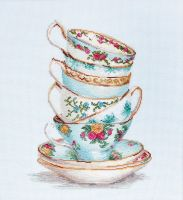 Turquoise Teacups Cross Stitch Kit - Luca-S