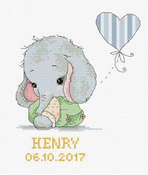 New Baby Sampler Elephant Cross Stitch Kit - Luca-S