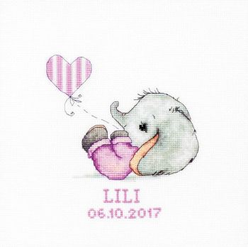 New Baby Girl  Elephant Cross Stitch Kit - Luca-S