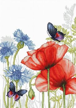 Poppies & Butterflies Cross Stitch - Luca-S