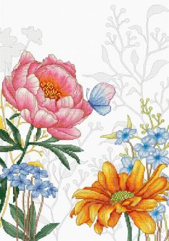 Flowers and Butterfly Cross Stitch - Luca-S