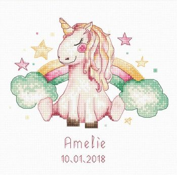 Unicorn & Rainbow Baby Cross Stitch Kit - Luca-S