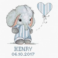 Baby Boy Sampler Elephant Cross Stitch Kit - Luca-S