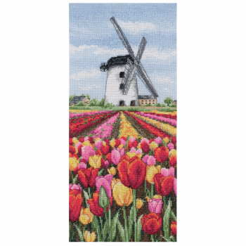 Dutch Tulips Landscape Cross Stitch