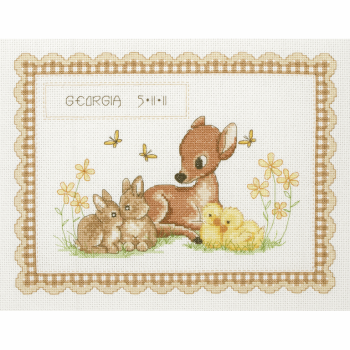 Birth Sampler - Baby Animals Cross Stitch