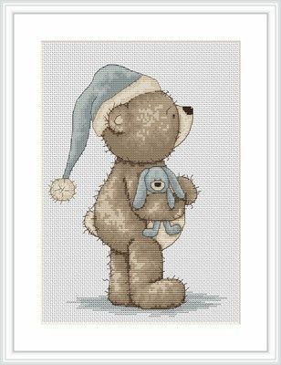 Time for Bed Bruno Bear Cross Stitch Kit - Luca-S