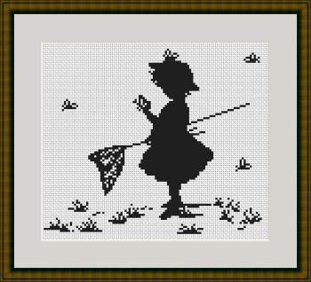 Girl with Butterflies - Silhouette Cross Stitch Kit