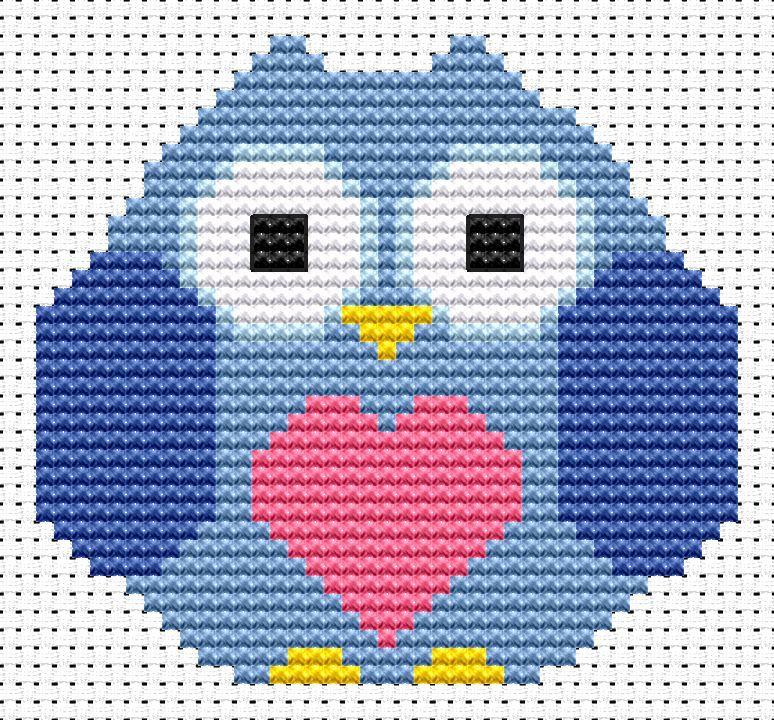 Heart Owl Cross Stitch - Sew Simple