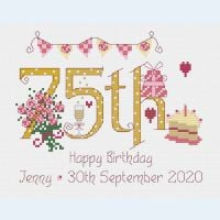 75th Birthday Sampler Kit - Nia Cross Stitch