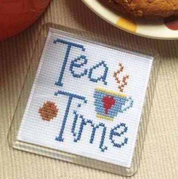 Cross Stitch Coaster - Tea Time