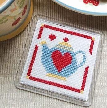 Cross Stitch Coaster - Teapot