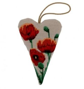 Large Red Poppy Lavender Heart Tapestry
