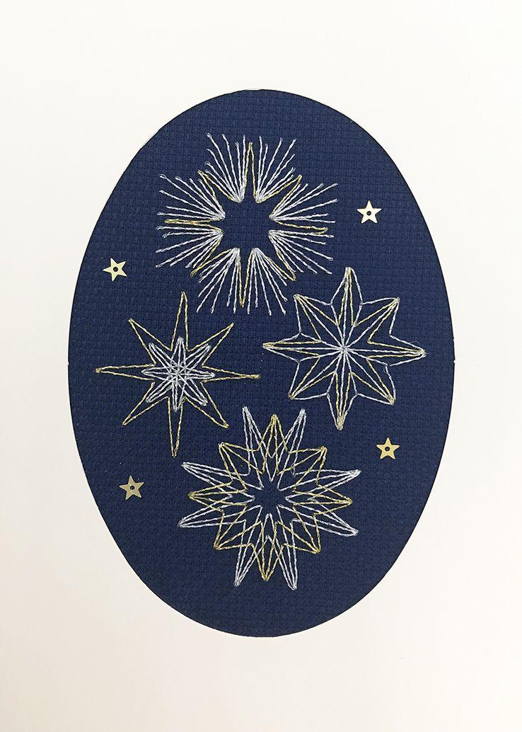 Shining Stars Cross Stitch Card
