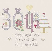 <!-- 023 -->30th Anniversary Numbers (Pearl) - Nia Cross Stitch