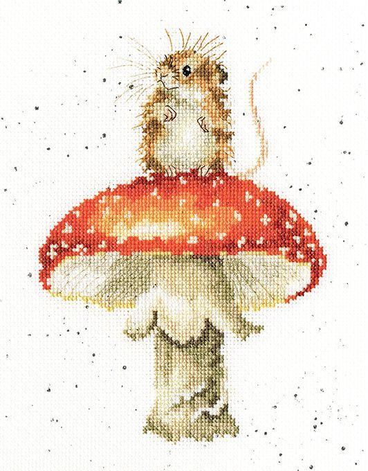 He's a Fun-gi Mouse cross stitch - Hannah Dale
