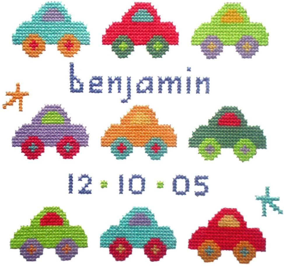 Birth Baby Boy Cross Stitch - Car Sampler