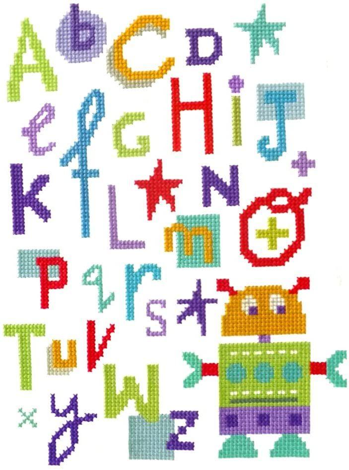 Robot  Alphabet Sampler Cross Stitch Kit