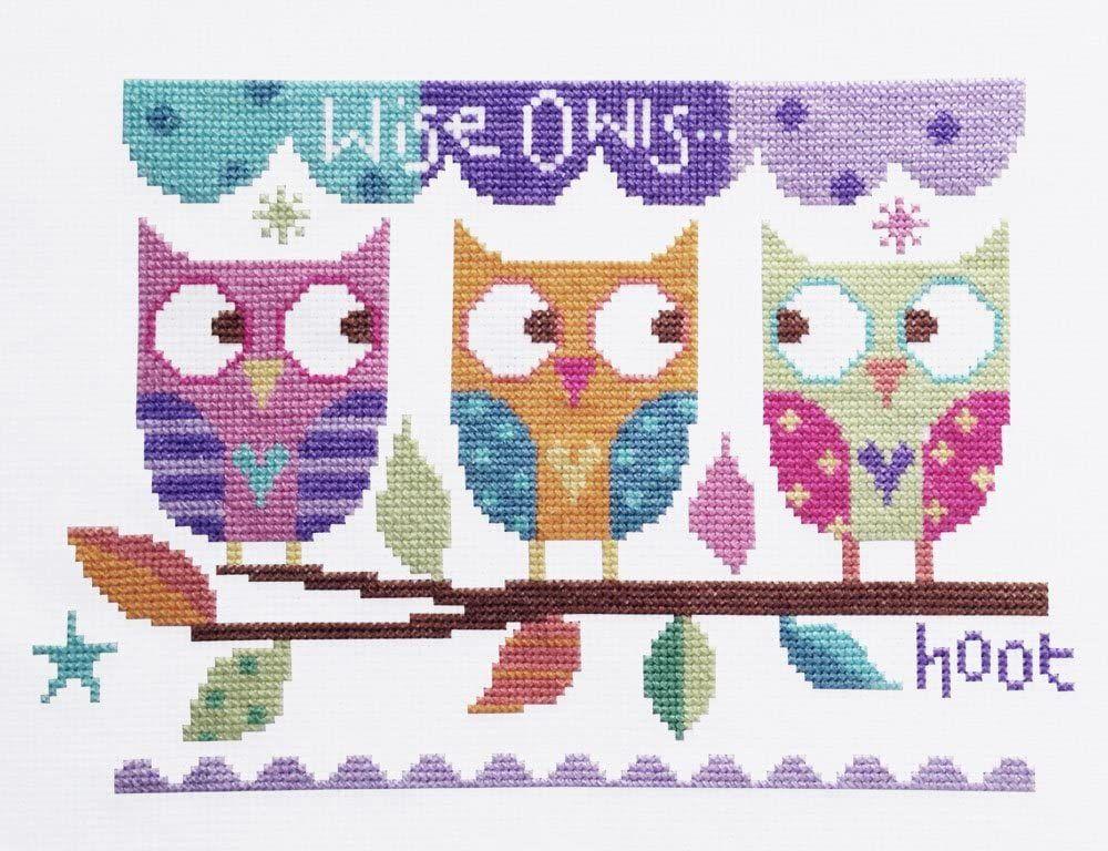 Three Owls Modern Cross Stitch Kit